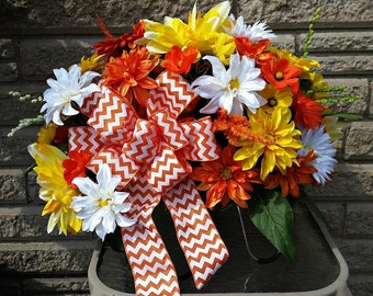 Orange, Yellow, and White Chevron Cemetery Headstone Saddle