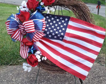 Patriotic Memorial Cemetery Flag Wreath