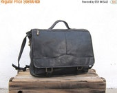 5 day, Sale 15% off Briefcase Black Leather Distressed Leather Expandable Detail Messenger Bag
