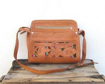15% OFF Out Of Town SALE Hobo Floral Tooled Tan Leather Satchel Shoulder Bag