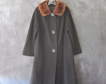 1960s Black Wool and Fox Fur Opera Swing Coat Shawl Collar Ultra Dramatic Coat OSFM