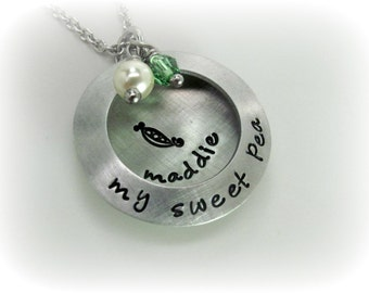 My Sweet Pea Necklace New Mom Necklace New Grandma Necklace Gift For Mom Gift For Grandma Hand Stamped Necklace New Baby Gift Mom to Be