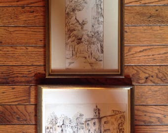 Vintage 1970's Rubio Pen Ink Watercolor Art Pictures Mexico City Sullivan Park