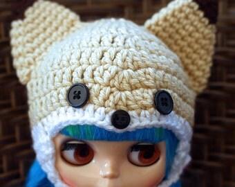 Fennec Fox Blythe Doll Hat, Blythe Doll Fox Helmet, Fennec Fox Blythe Helmet, Cute Fox Blythe Hat, Cute Fennec Fox Helmet, Blythe Doll Hat
