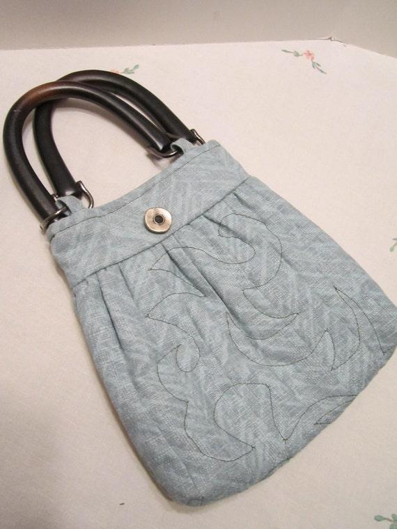 CLEARANCE - Light Teal Aqua Aquamarine Purse Handbag Quilted Design Wood Handles