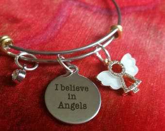 I believe in Angels Charm Bracelet Stacker Bangle Unusual gift for friend family suffering bereavement husband child loss angel baby memory