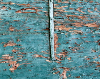magnetic Photography Backdrop Floordrop turquoise old wooden door (tuscany)