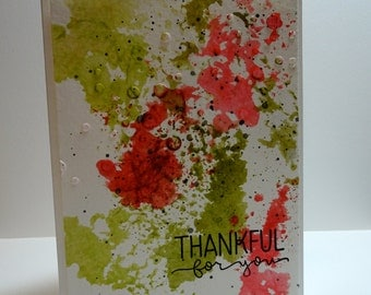 Handmade Watercolor Thank You Card in Red and Green