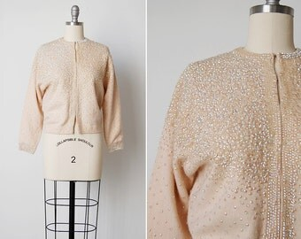 vintage 1950s sweater / 50s cream cardigan / 1950s sequin sweater / Akureyri sweater