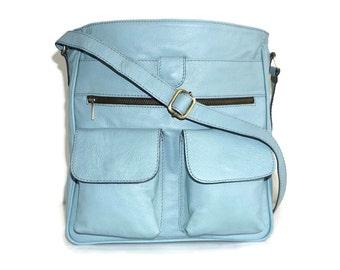 Leather Bag, Leather Messenger, Leather Cross-body Bag, Laptop Bag, Leather Purse, IPad Bag, Ipad Case, Leather Handbag, Iris, Light Blue