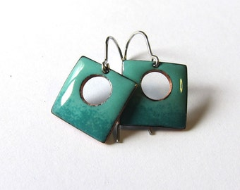 Small teal enamel drop earrings Turquoise green square dangles Colorful modern minimalist jewelry Tiny petite dainty lightweight earrings