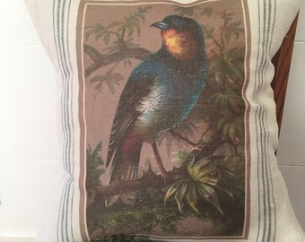 Vintage Grain Sack Pillow Cover Fancy Bird by Gathered Comforts