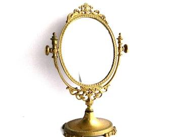 "Antique Victorian Solid Brass Pedestal Vanity Mirror - Vintage Art Nouveau Bathroom Stand Mirror - 10 1/2"" High - Hollywood Elegance"