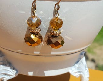 Amber Gold Glass Bead Earrings Copper Brass Ear Wires Free Shipping in the U.S.
