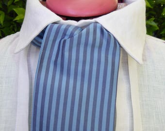 Blue and blue gray striped silk cravat, 19th century style