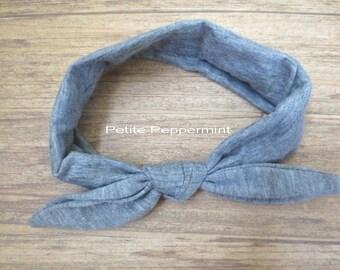 Gray Baby headband, grey baby head wrap, baby head band cotton, twist knot headband, knotted bow headband, baby turban, top knot headband