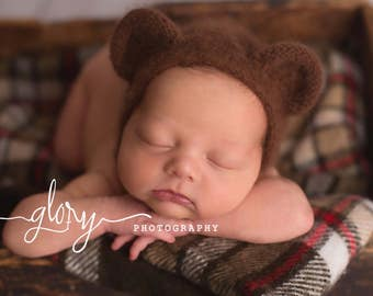 Angora bear bonnet, newborn photo prop, angora hat, bear bonnet, photo prop, baby bonnet, baby hat, infant hat, newborn hat, fuzzy hat, hat