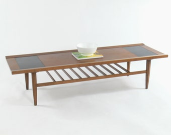 Mid Century Modern Coffee Table with Slated Shelving