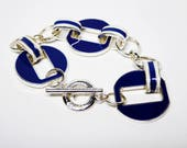 Blue and White Enamel Bracelet - Silver Tone Round Links - Vintage 1990's Modern Jewelry - Designer Signed Chaps