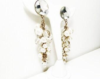 Vintage Dangling Pearl Earrings - Flat Back Rhinestone Studs for Pierced Ears -  Retro Dangling Pearls - Cluster of Hanging Pearls - Vintage