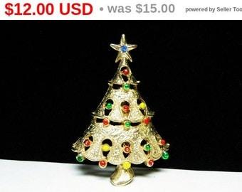 Vintage Christmas Tree Brooch - Enamel Ornaments and Rhinestone Star - Holiday Jewelry