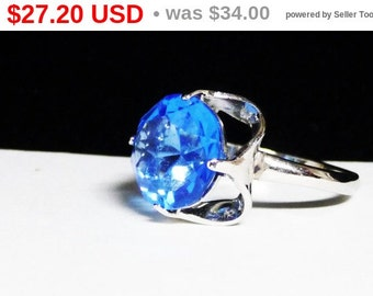 Sapphire Blue Glass Rhinestone & Sterling Silver Ring - Vintage Solitaire Modern Ring