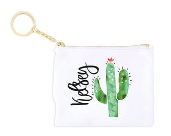 Cactus Personalized Card Key Fob Coin Purse Monogrammed Coin Purse Personalized Bridesmaid Gift Personalized Coin Purse Birthday Gift