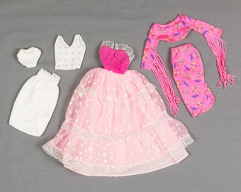 Barbie fashion clothes 6 pieces, 3 outfits, Pink floor length gown Front wrap skirt / crop top with fringed sleeves, Baby doll PJ's and robe