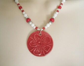 Red Ceramic Necklace, boho jewelry bohemian jewelry hipster jewelry gypsy jewelry hippie moroccan new age hipster necklace boho necklace