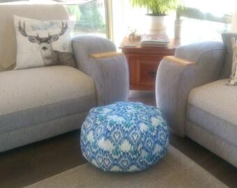 Pouffe/Ottoman Blue Cotton