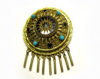 """Vintage Etruscan Black Carved Glass Beaded Dangling Brooch Antique Jewelry Gift Idea Gold Black Turquoise Gold Pin 2 3/8"""""""