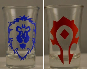 World of Warcraft Alliance/Horde Vinyl Design Shotglasses