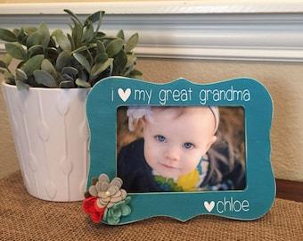 Great grandma picture frame gift personalized grandmother gigi mimi nana grammy grandma gift