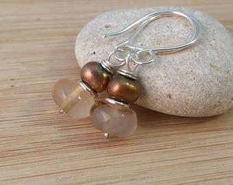 Beige Gemstone Earrings. Tan Agate Gemstones. Bronze Freshwater Pearl Earrings. Natural Stone Greige Earrings. Sterling Silver Earrings.