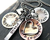 ON SALE Personalized Hand Stamped Mothers Necklace - Personalized Mothers Necklace - Ultimate Custom Mothers Necklace