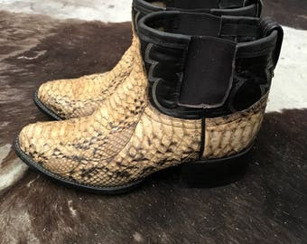 Jada & Jon snakeskin cowboy ankle boots