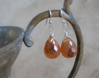 Carnelian earrings ~ orange earrings ~ faceted carnelian ~ orange stone ~ semiprecious stone ~ boho bohemian ~ artisan earrings
