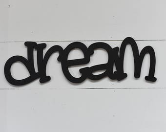 Dream Word Wood Cut Wall Art Sign Decor Kids Home Decor Nursery Play Room Craft Room