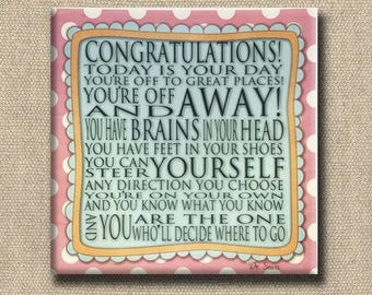Congratulations Quote - Dr. Seuss Print Contemporary Cafe Mount pink dot aqua- art block - Today is your Day