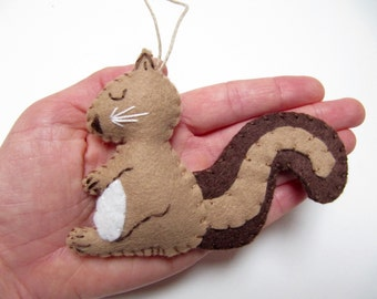 Personalized Squirrel Christmas Ornament, Wool Felt Christmas Ornament, Woodland Ornament, BROWN Squirrel Ornament