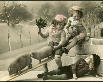 Little Girls PLAYING with PIGS In This Cute Photo Postcard circa 1910