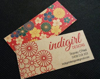 """100 Business Cards or tags 3.5""""X1.5"""" - printed on 18 PT THICK Kraft board/paper stock - with white ink option - recycled eco-friendly"""