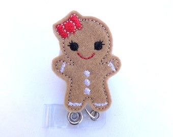 Christmas holiday badge holder retractable - Gingerbread Gal - tan felt with red bow - nurse teacher badge reel medical staff