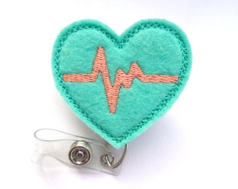 Retractable badge holder - nurse badge holder - Heartbeat EKG dark mint felt with coral apricot - Nurse RN doctor medical staff