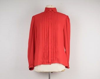 Red Sheer Long Sleeve Blouse 80s Vintage High Neck Pleated Chiffon Career Secretary Button Up Georgette Blouse Top 12 Large Women
