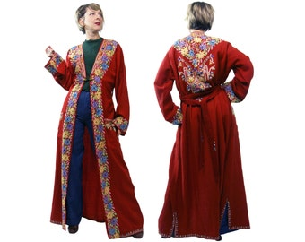 Vintage Red Kashmiri Embroidered Robe Duster with Belt