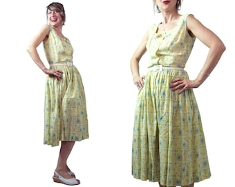 1950s to 1960s Fashioned By Lampl Floral Print Cotton Dress