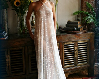 Bridal Nightgown Embroidered Lace Halter Backless Gown Wedding Sleepwear Lingerie Bridal Lingerie Honeymoon French Lace Ivory Lace