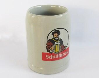 Vintage Schultheiss Beer Stein - Stoneware German Beer Stein - Beer Mug