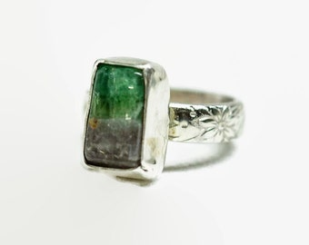 Fluorite Stone Ring Rough in Sterling Silver Handcrafted Size 6.5